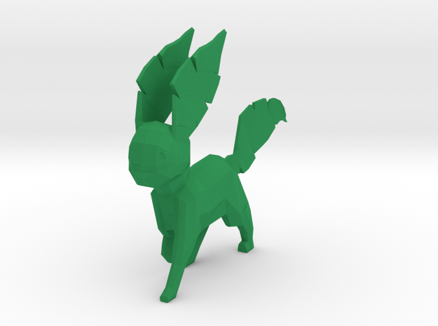 Low Poly Leafeon in Green Processed Versatile Plastic
