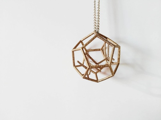 Naked Dodecahedron Pendant in Polished Bronzed-Silver Steel