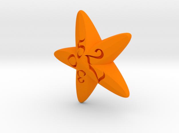 Starfish d10 in Orange Processed Versatile Plastic