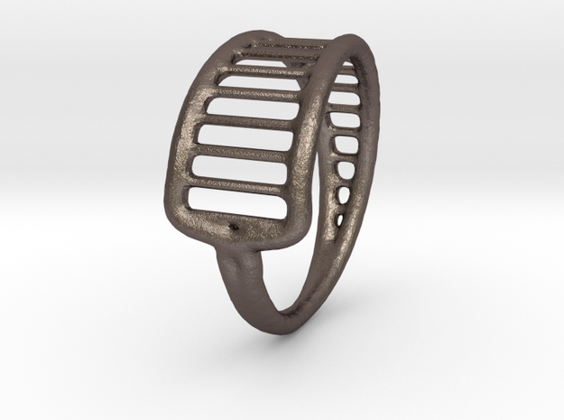 Ring 15 in Polished Bronzed-Silver Steel