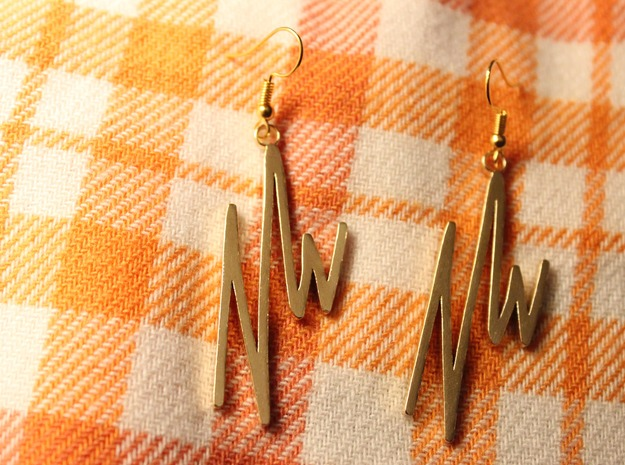 NWD Graffiti Earrings in Natural Brass