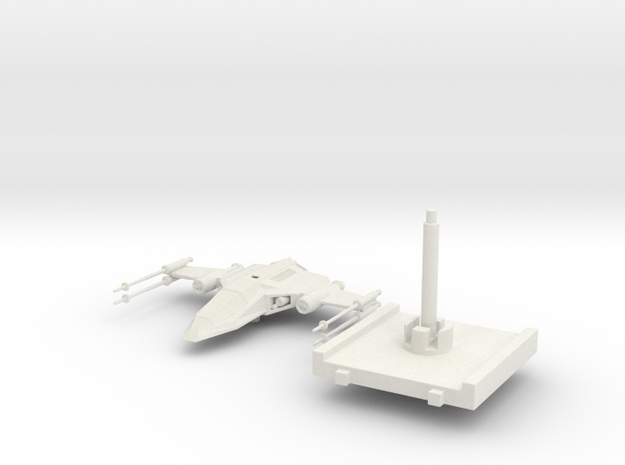 Z-15 Starfighter with base in White Natural Versatile Plastic
