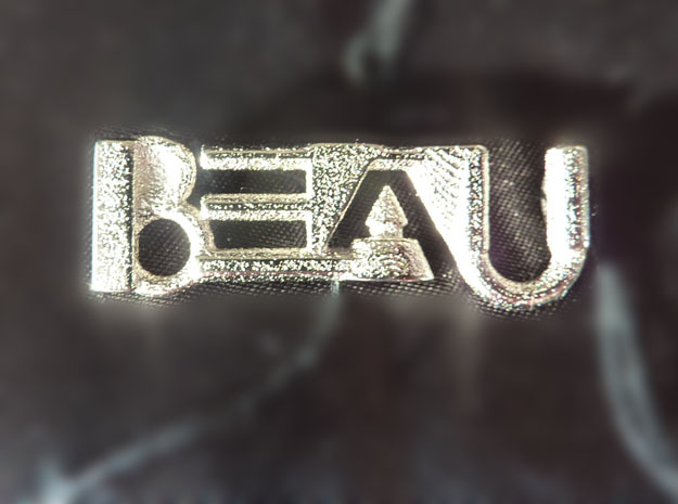 Beau's Name - Geometric Name Pendant 40 mm in Polished Bronzed Silver Steel