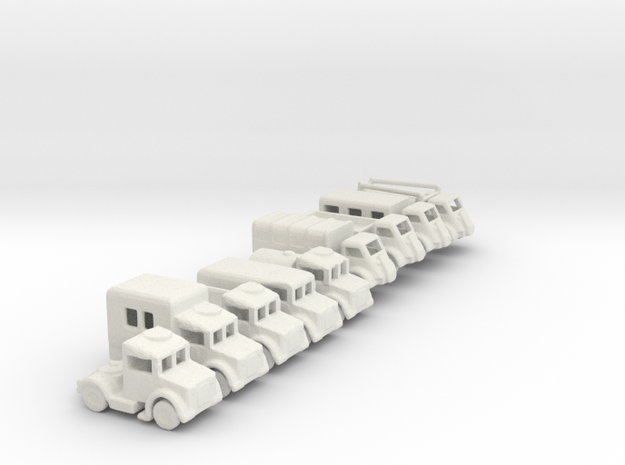 1/200 Scale Bedford Truck Set Of 9 in White Natural Versatile Plastic