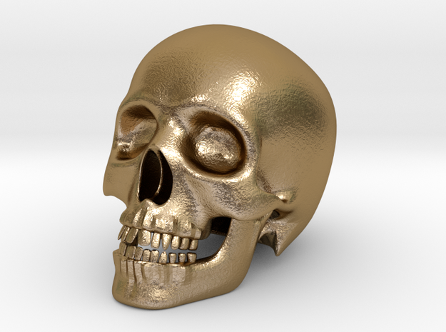 Human Skull (Medium Size-10cm Tall) in Polished Gold Steel