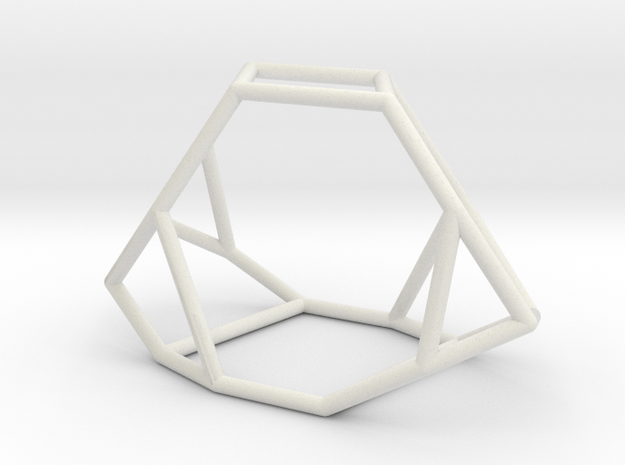 """Irregular"" polyhedron no. 2 in White Natural Versatile Plastic: Large"