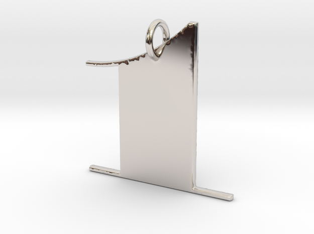 Numerical Digit One Pendant in Platinum