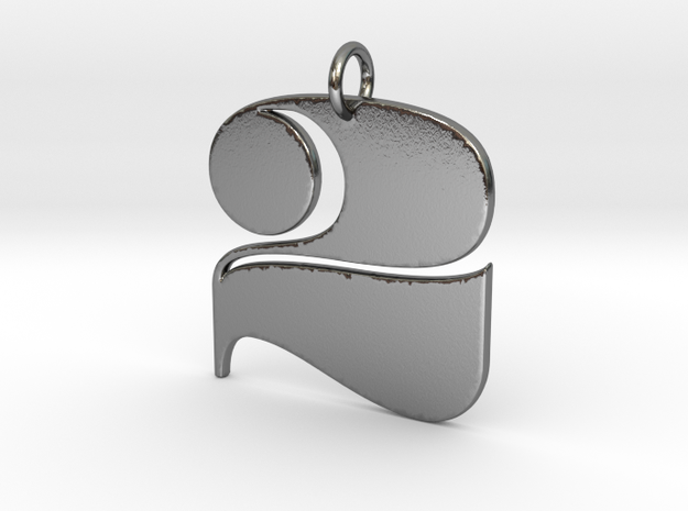 Numerical Digit Two Pendant in Polished Silver