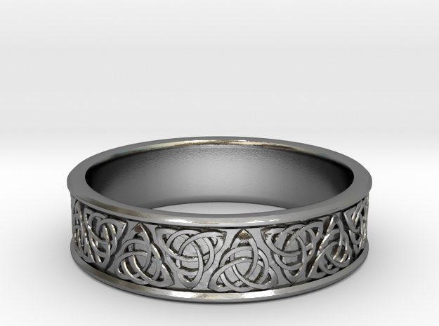 Celtic Tri-Knot Ring~size US 8   in Polished Silver: 8.25 / 57.125