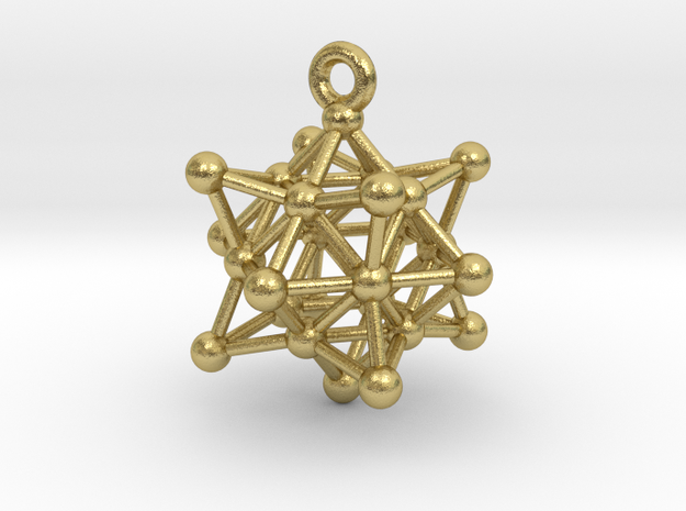Stellated Vector Equilibrium Cuboctahedron Sacred  in Natural Brass