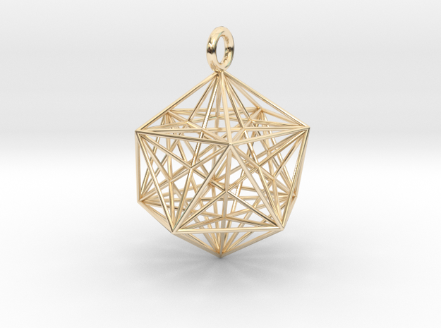 Icosahedron Dodecahedron Nest - 32mm  in 14k Gold Plated Brass