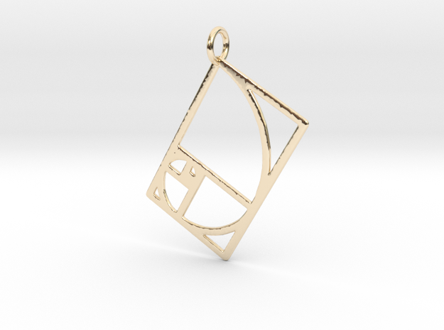 Golden Rectangle Spiral 41mm x 53mm in 14k Gold Plated Brass