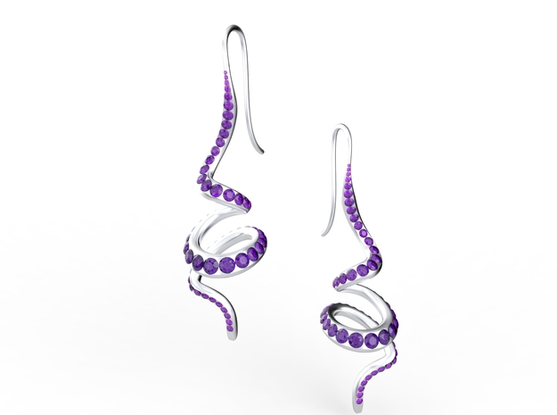 Winding Crystal Earring in Natural Silver
