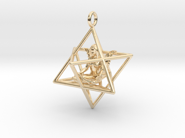 Star Tetrahedron Angel 30 mm in 14k Gold Plated Brass