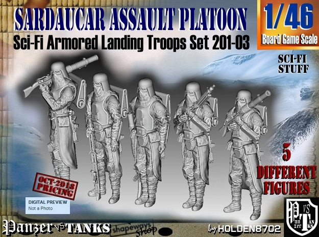 1/46 Sci-Fi Sardaucar Platoon Set 201-03 in Smoothest Fine Detail Plastic