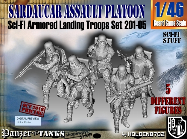 1/46 Sci-Fi Sardaucar Platoon Set 201-05 in Smooth Fine Detail Plastic