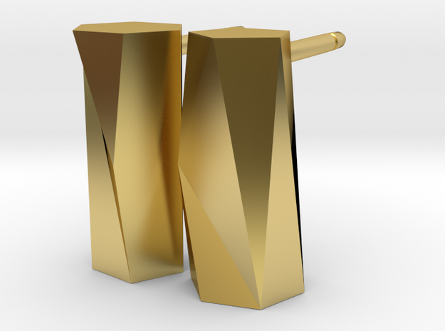 Scutoid Post Earrings - Mathematical Jewelry in Polished Brass