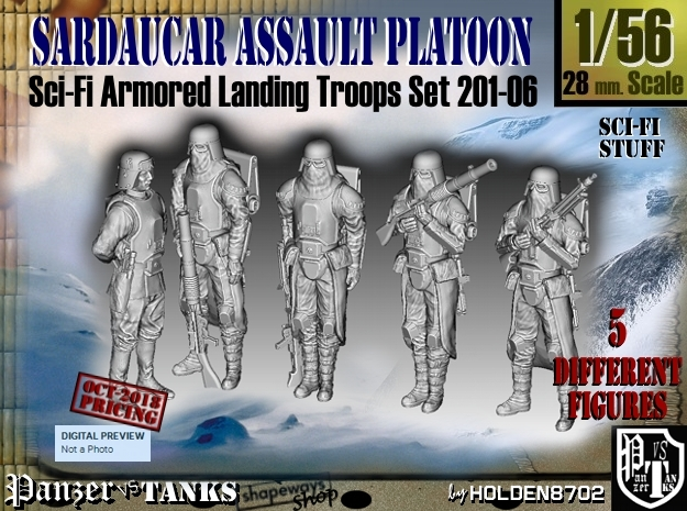 1/56 Sci-Fi Sardaucar Platoon Set 201-06 in Smoothest Fine Detail Plastic