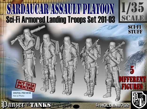 1/35 Sci-Fi Sardaucar Platoon Set 201-03 in Smooth Fine Detail Plastic