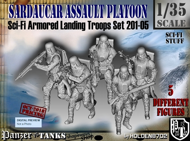 1/35 Sci-Fi Sardaucar Platoon Set 201-05 in Smooth Fine Detail Plastic