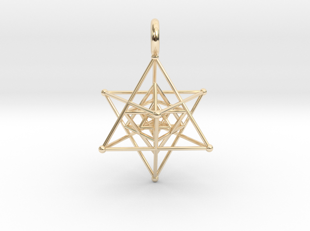 Tripple Star Tetrahedron 27mm in 14k Gold Plated Brass