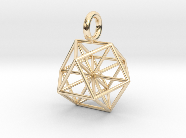 Vector Equilibrium - Cuboctahedron pendant - 21mm  in 14k Gold Plated Brass: Small