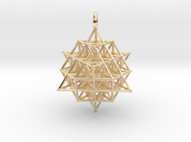 64 Tetrahedron Grid 35mm Pendant  in 14k Gold Plated Brass