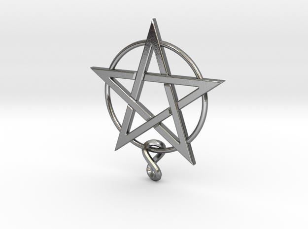 pentagram.Lapis.6.6.6.final in Polished Silver
