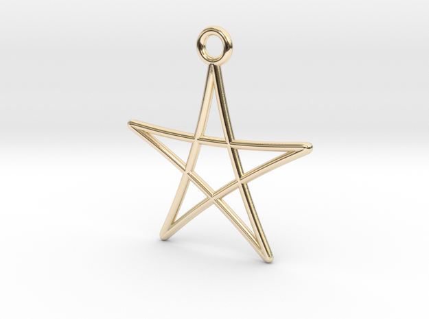 Spirograph Star Pendant, 5 Points in 14K Yellow Gold