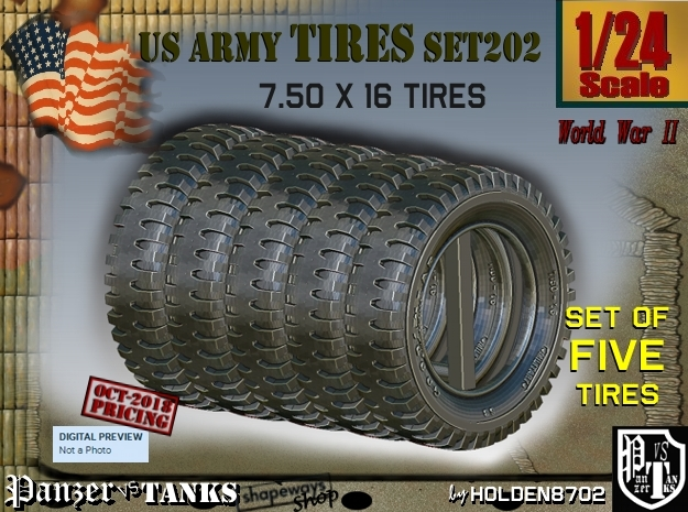 1/24 Tire 750x16 Set202 in Smooth Fine Detail Plastic
