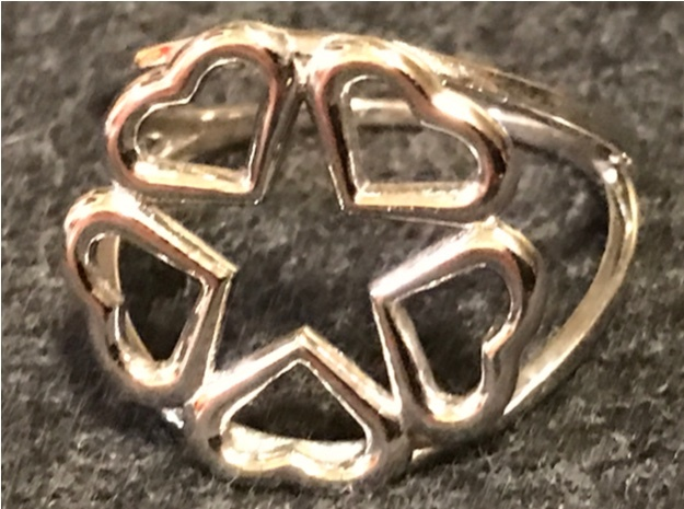 Hearts Hidden Pentacle Ring in Rhodium Plated Brass: 7 / 54