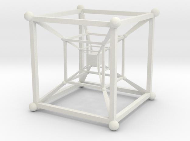 Hyper Cube Fibonacci in White Natural Versatile Plastic