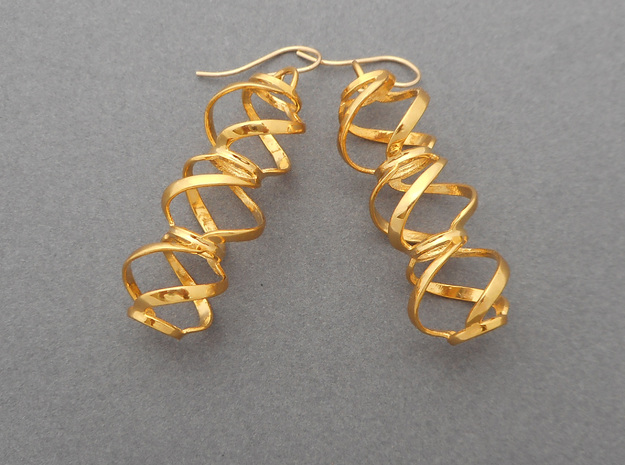 Swirl 3 - Pair of earrings in cast metal in 18k Gold Plated Brass
