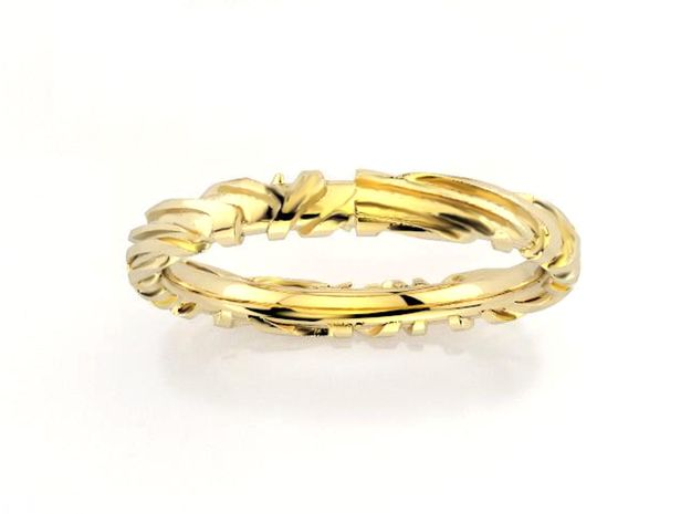 Wedding Ring Zebra 3 mm in 18k Gold Plated Brass: 6.25 / 52.125