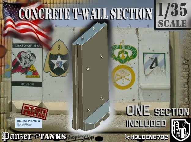 1/35 Concrete T-Wall Section in White Natural Versatile Plastic