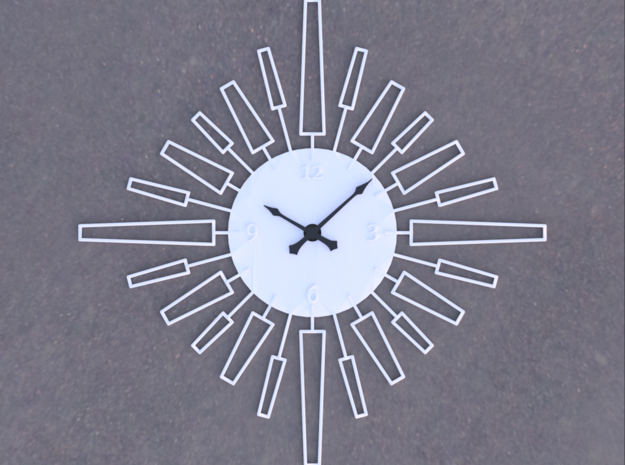 Sunburst Clock - Velma in White Natural Versatile Plastic
