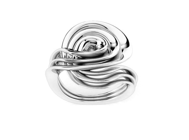 Masalla Curved Ring in Polished Silver: 6.25 / 52.125