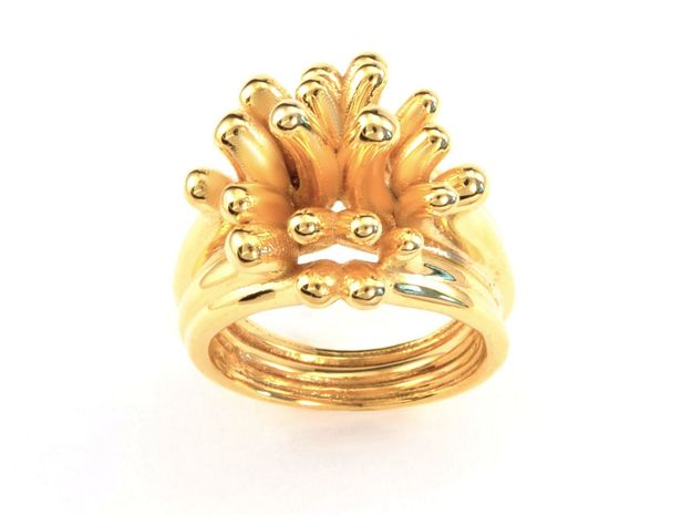 Water and Fire Ring  in 18k Gold Plated Brass: 6.25 / 52.125