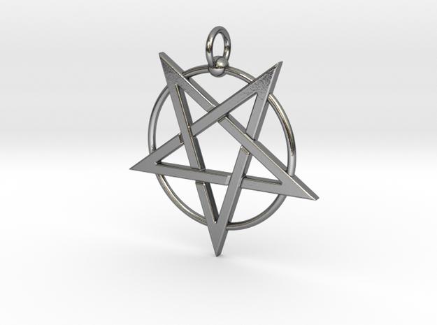 last pentagram3updatedver1 in Polished Silver