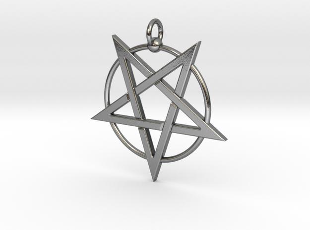 last pentagram3updatedver3 in Polished Silver