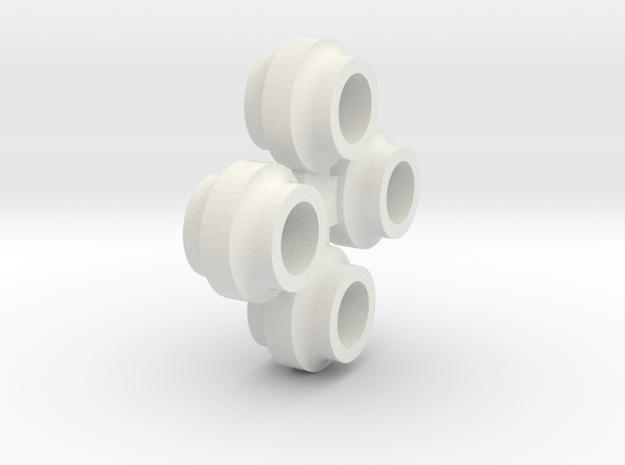 JaBird RC Mini-T Spring Cups - (4) Nylon in White Natural Versatile Plastic