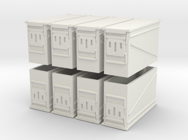 1:18 Scale Ammo Can (PA-120 40mm) in White Natural Versatile Plastic