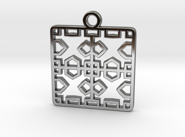 Tessellation Pendant (004) in Fine Detail Polished Silver