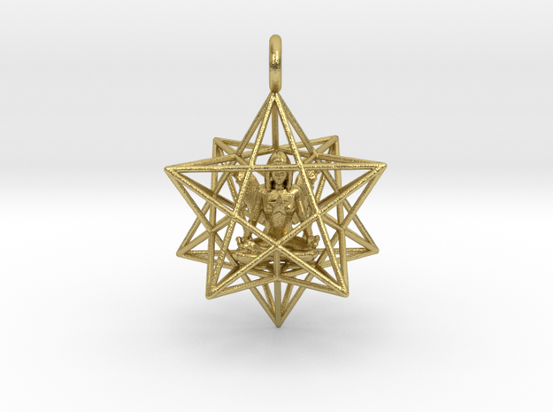 Angelstar Stellated Dodecahedron 30mm in Natural Brass