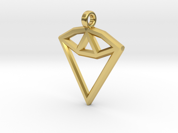 Geometric Diamond Pendant in Polished Brass