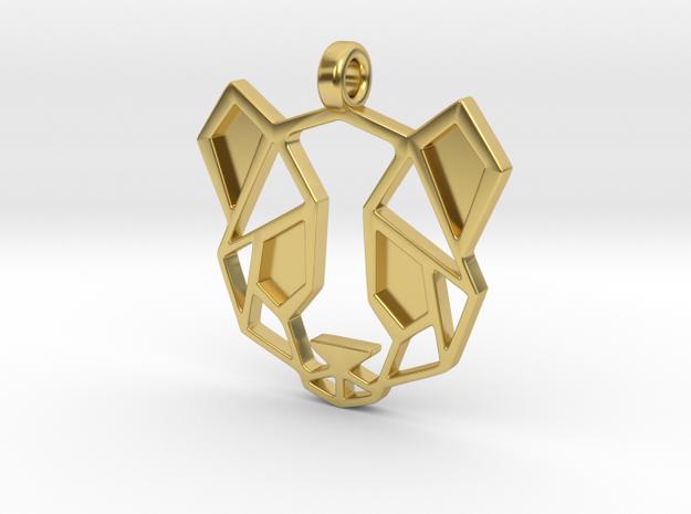 Geometric Panda Pendant in Polished Brass