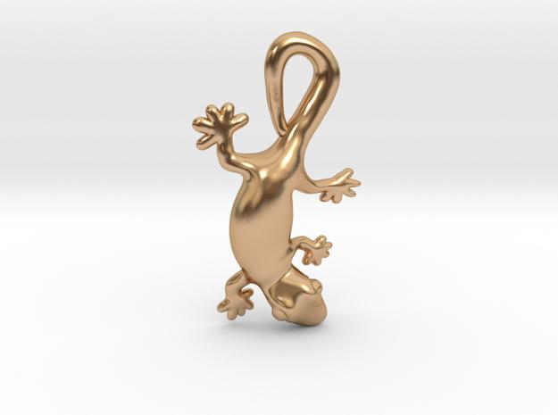 Cute Gecko Pendant in Polished Bronze