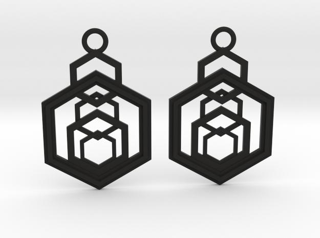 Geometrical earrings no.9 in Black Natural Versatile Plastic: Medium
