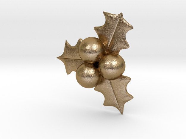 Hollyberry Christmas Pendant in Polished Gold Steel