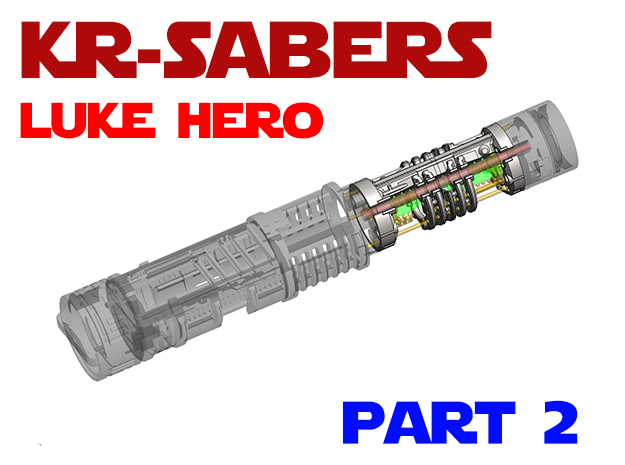 KR Luke Hero - Part2 Lightsaber Chassis in White Natural Versatile Plastic